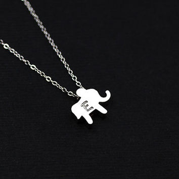 Personalized Necklace. Initial Elephant Necklace .Tiny Lucky Elephant sterling silver Jewelry. Gift to mom,friends