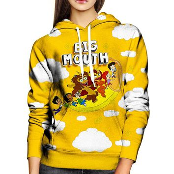 Big Mouth Flying Banana Womens Hoodie