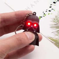 Free Shipping 2016 Star Wars Keyring Light Black Darth Vader Pendant LED KeyChain For Man Gift
