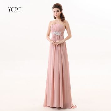 Bridesmaid Dresses 2017 YOUXI BD014 Women's Strapless Dusty Pink Padded vestidos Chiffon Dresses