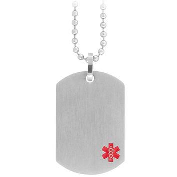 18 Inches - INOX Jewelry 316L Stainless Steel Red Caduceus Medical Alert Symbol Necklace