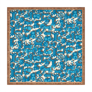 Sharon Turner Chinese Animals Blue Square Tray