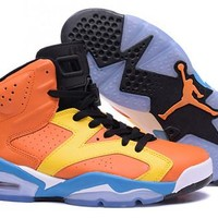 Cheap Nike Air Jordan 6 Retro Men Shoes Orange Yellow Blue