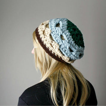 Patchwork Hippie Slouch Beanie - Boho Spring Summer Hat - Evergreen . Sky Blue . Taupe - One Of A Kind