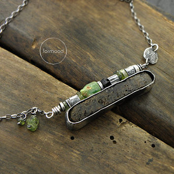 Amber, peridote, green garnet, black tourmaline & raw sterling silver - delicate necklace