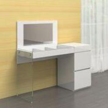 IL VETRO Collection High Gloss White Lacquer Office Desk by Casabianca