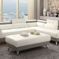2 pc zorba ii collection modern style white and light grey bonded leather upholstered sectional sofa with adjustable headrests