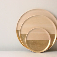 wood gold leaf tray 12""