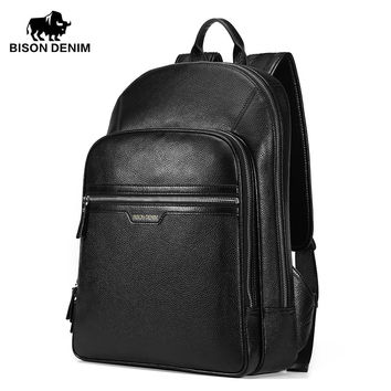 Genuine Leather Large Backpacks Mens Laptop Bag Daypack black business Casual Backpack ipad bags