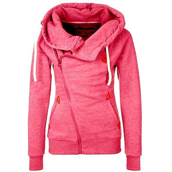 Fashion 2015 women's sports personality side zipper hooded cardigan sweater jacket LN-835-lee = 5617219841