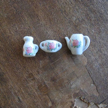 Doll-Sized Mini Porcelain Tea Set; Pink/Blue Asian Floral Teacups/Teapot/Plates/Creamer/Sugar; Tiny Play Tea Service; U.S. Shipping Included