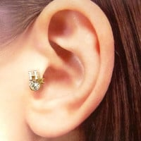 Rose gold plated charm w/clear crystal Ear Cuff, Nose cuff, Tragus cuff, Non Pierced Nose Ring, Cartilage, Fake piercing