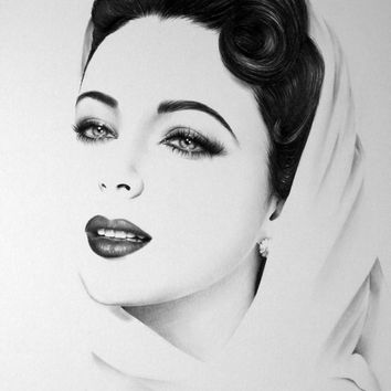 Elizabeth Taylor Minimalism Original Pencil Drawing Fine Art Portrait Glamour Beauty SALE