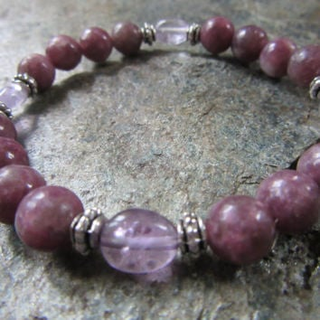 Handmade stretch bracelet natural pink purple china tourmaline 8mm and ametrine nugget freeform 8-9mm beads Reiki infused JS