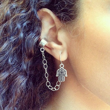 Hamsa Ear Cuff Earrings with Silver Chain, Earcuff Bohemian Spring Jewelry