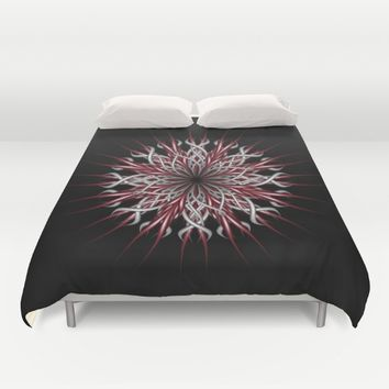 Mandala silver and red Duvet Cover by VanessaGF