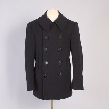 Vintage 40s PEA COAT / 1940s WWII Usn Wool 10 Button Cord Pocket Chin Strap 38 M