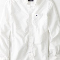 AEO Men's Oxford Button Down Shirt (White)