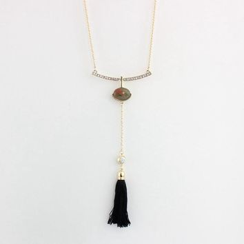Black Tassel Collar Necklaces & Pendants Gold Plated Necklace with natural stone