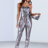 Shine On Knotted Metallic Jumpsuit