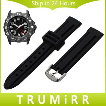 Silicone Rubber Watchband 20mm 22mm 23mm 26mm for Luminox Men Women Watch Band Stainless Steel Buckle Strap Wrist Bracelet Black