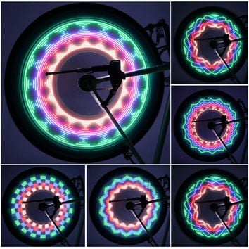 New Arrival Colorful Bicycle Lights Bike Cycling Wheel Spoke Light 32 LED 32-pattern Waterproof Drop Shipping