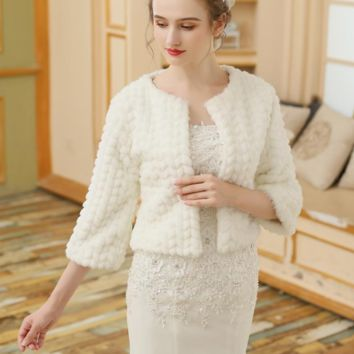 Red Ivory Bolero Women Warm Wedding Jacket Wrap Faux Fur Wedding Coat