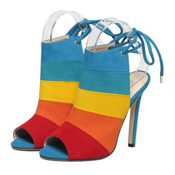 High Thin Heel Chromatic Color Rainbow Peep-toe Sandals  colorful