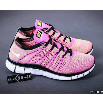Nike NIKE FREE FLYKNIT NSW barefoot line running shoes high quality perfect new goods F-SSRS-CJZX Pink
