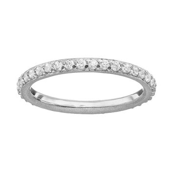 Sophie Miller Cubic Zirconia Sterling Silver Eternity Ring (White)