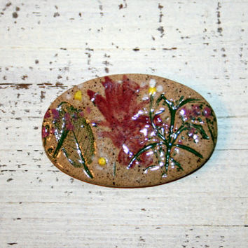Handmade Glazed Ceramic Brooch Pressed Leaf Floral Nature Earthy Jewelry Oval Brooch Spring Jewelry Spring Brooch Clay Jewelry Hand Painted