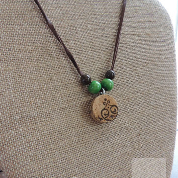 Repurposed wine cork necklace Wine jewelry Gifts ideas Adjustable necklace (N037)
