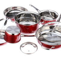 10-Pc Cookware Set, Red, Mixing Bowls