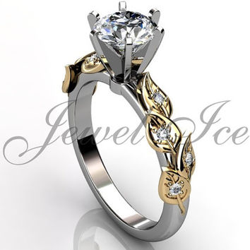 14k two tone white and yellow gold diamond unusual unique floral engagement ring, bridal ring, wedding ring, anniversary ring ER-1112-4