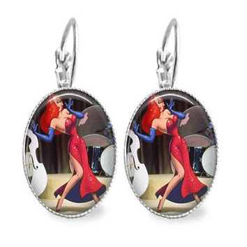 Jessica Rabbit Performing Oval Earrings