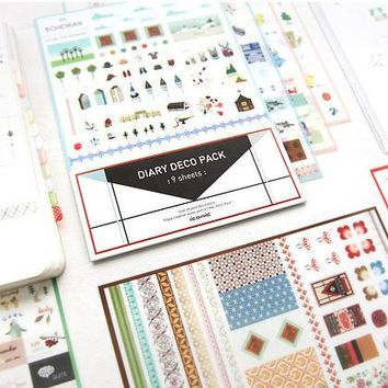 9 Sheets/lot Korean ICONIC Cute Diary Deco Pack  DIY Kawaii Stickers for Photo Album Planner Diary Notebook Korean Stationery
