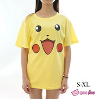 S-XL Boyfriend Oversized Pokemon Pikachu Cute Face T-shirt SP152032