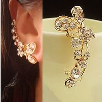 Butterfly and Blossom Wrapping Ear Single Cuff | LilyFair Jewelry