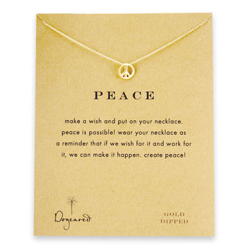 peace sign necklace, gold dipped
