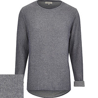 River Island MensBlue ribbed curved hem sweater
