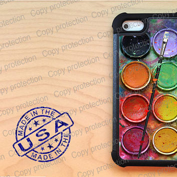 Paintbox Artisan Painting iPhone 5 case with extra protection - Water color palette iPhone 5 hard case, 2 piece rubber lining case