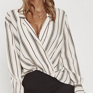 4b50fbe4f72 Stay in Your Lane V Neck Wrap Long Sleeve Brown White Striped Collared  Blouse Top