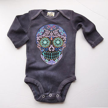 e9bd393757b Purple Skull Romper. 0 3 month Gray Long Sleeve sugar skull clot