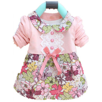 All Season Long Sleeve Doll Collar Baby Girls Dress 0-24Months Infant Floral Lace Bow Clothes Dresses SM6