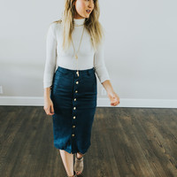 Blue Suede Button Skirt