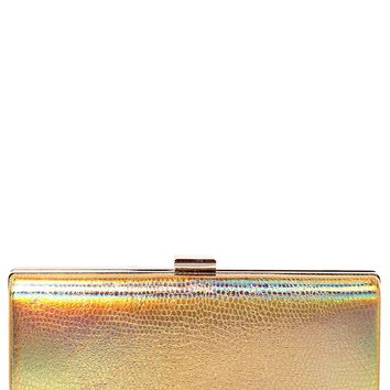 Gold Holographic Box Clutch Bag