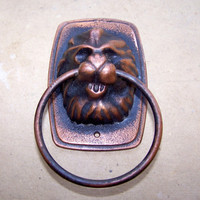 Vintage Cast Iron Door Handle. Lion Head. Door Knob. Home Decor.
