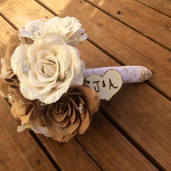 Large Burlap Bouquet - Shabby Chic Wedding - Rustic Wedding - Rustic Bouquet - Rustic Wedding Bouquet - Burlap Wedding