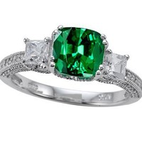 3.22 cttw Zoe R(tm) Engagement Ring With 14 Genuine Diamonds And 7mm Cushion Cut Simulated Emerald By Zoe in .925 Sterling Silver Size 5