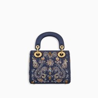 Mini Lady Dior bag in blue denim embroidered with beaded flowers - Dior